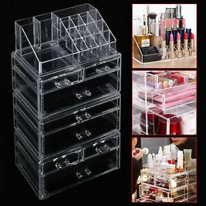 7 Drawer Cosmetic Organiser Makeup Jewellery Acrylic Storage Case Box Clear Tray