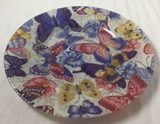 """Fabric Backed Decorative 7 1/2"""" Plate with Butterflies Beautiful Home Decor"""