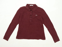 Lacoste Womens Size 10 Cotton Burgundy Polo Shirt (Regular)
