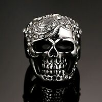 Stainless Steel Skull Ring With White Cubic Zirconia Stones Biker Gothic Punk