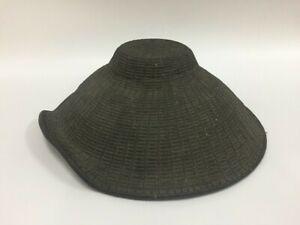 T0609 Japanese Samurai Hat Jingasa Vintage Jaw Strap Brown Round Replica