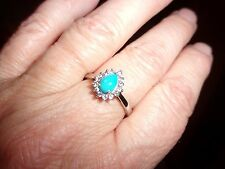 Arizona Sleeping Beauty Turquoise Ring W/Tanzanite  in Platinum over Sterling