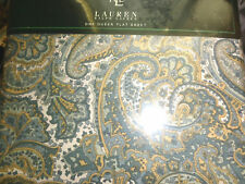 Ralph Lauren NORTHLAKE PAISLEY Teal Green QUEEN FLAT Sheet North Lake NEW