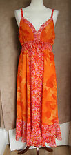 Sleeveless Orange Floral Empire Line Calf Length Dress - Size L - Silent Angels