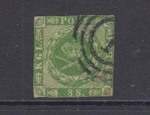 Denmark Facit 8v2 used. 1858 8s green Royal Emblems, double impression