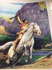 Ephemera 1936 Book Plate 8x5.5 Inch Lone Scout Warns The Settles Indians b1o