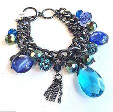 Bead Tassel Rhinestone Charm Bracelet Blue Toggle Chain Bold Boho