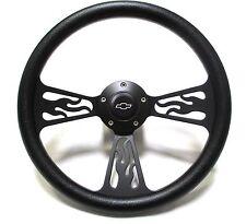 1969 -1994 Chevelle Steering Wheel Black Billet Flame Design Chevy Horn Full Kit