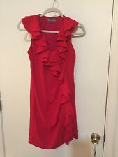 Eva Franco RED RUFFLED SLEEVELESS V-NECK DRESS SZ-4 $215