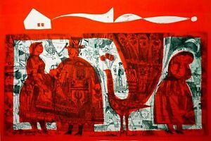 MODERNIST VINT FIGURATIVE COLOR INTAGLIO 'BALLAD' SIGNED & DATED 1965 (UNFRAMED)