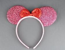 Pink sparkle minnie mouse ears headband ear hair band costume mickey sparkly