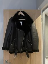 Zara Faux Fur Leather Shearling Aviator Jacket Size Medium New With Tags