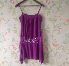 RIVER ISLAND Purple Silk Embellished Gatsby Flapper Dress Size uk 10 Worn once