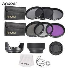 Andoer 49mm UV CPL FLD ND 2 4 8 Lens Filter Kit Pouch +Hood+Cap for DSLR Camera
