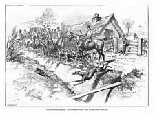 FOX HUNTING An Incident with the Ward Union Hounds - Antique Print 1888
