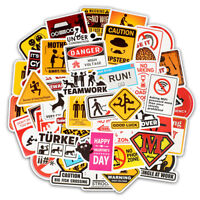 50PCS Warning Stickers Danger Waterproof Decal Sticker to DIY Laptop Luggage
