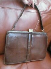 Old real lizard skin handbag 27.5 x 18.5 x 6.5 cm. Suede lined + 3 x pockets VGC
