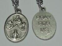 "4-Way Catholic Holy Medal on 24"" Chain Sacred Heart of Jesus & Protective Saints"
