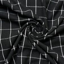Negro & Blanco Cuadros Pesado abrigos Tejido - REVERSIBLE - Por Metro - 150cm