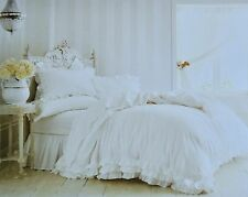 Rachel Ashwell Simply Shabby Chic White Poplin Ruffle Lace Duvet 3 pc QUEEN SET
