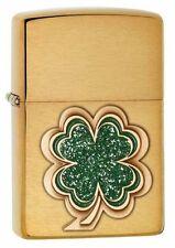 Zippo 28806, Green Shamrock, Emblem, Brushed Brass Finish Lighter