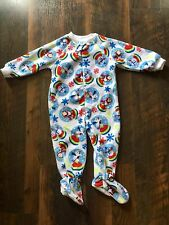 Size 18m white FLEECE HOLIDAY PRINT ZIP UP FOOTED pajamas by THE CHILDREN'S PLAC