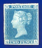 1841 SG14 2d Blue Plate 3 E1(2)g ES11f QA Var: Guideline in Corner Mint R/G ceoh