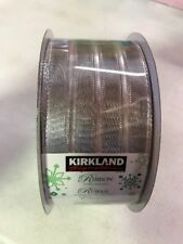 Kirkland Signature Wire Edge Ribbon Silver Christmas 2.5 in Wide, 50 yds Long