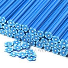 3x Hecho a Mano Flor Azul bastones-Arte en Uñas (cnc22)