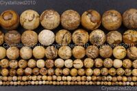 """Natural Picture Jasper Gemstone Faceted Round Beads 4mm 6mm 8mm 10mm 12mm 16"""""""