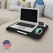HOME Portable Lap Desk Laptop Table Tray Bed Phone Holder Stop Bar Cushion Black