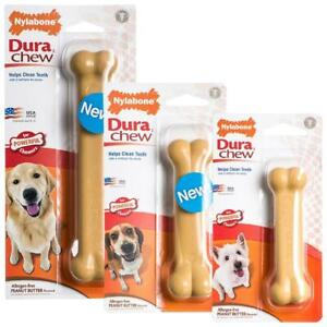 Nylabone Peanut Butter Flavour Dura Chew Tough Durable Strong Dog Bone Toy