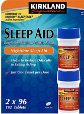 Kirkland Signature Sleep Aid Doxylamine Succinate 25 Mg 2 Bottles X 96 Tabs.