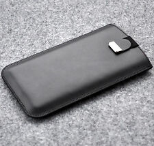 Phone case real leather cover sleeve padded lined black with magnetic strap