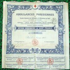 Paris - Beau Décor Rare Ambulances Parisiennes & Ste Gle des Infirmiers de 1903