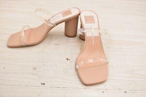 Dolce Vita Noles Heeled Slide Sandals, Women's Size 8, Nude Vinyl NEW