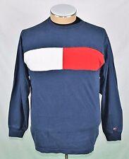 TOMMY HILFIGER Long Sleeve Box Logo T Shirt - Red White Blue Crewneck Vtg 90s XL