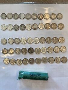 50 Nice Old Silver Roosevelt  Dimes. Great For a Collection.