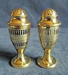SUPERB Antique ~ GEORGIAN ~ GOLD Plate & GLASS ~ SALT & PEPPER Shakers ~ c1820