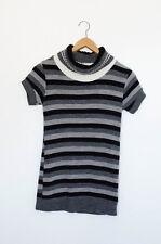 Shirt Longshirt Strick kurzarm Gr. S weiß schwarz grau gestreift Ringelshirt