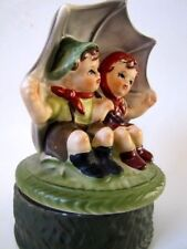 Vtg Music Box, Boy & Girl Under Umbrella, Hummel? 'Somewhere Over The Rainbow'