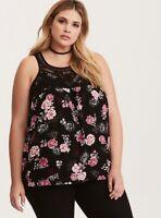 New Torrid Retro Boho Black Rose Floral Gauze Crochet Tank Top Plus Size 4x