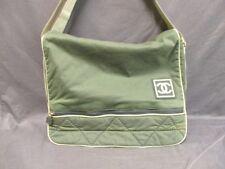 Authentic CHANEL Khaki Ivory Sport Line Nylon Shoulder Bag