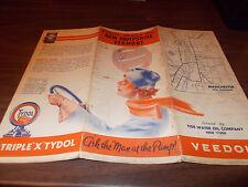 1935 Tydol/Veedol New Hampshire/Vermont Vintage Road Map / Nice Graphics !!