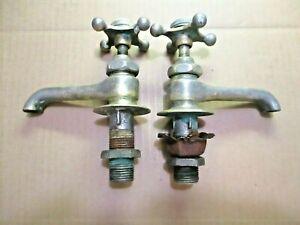 Standard Classic Hot Cold Bathroom Lavatory Sink Faucet Spigots Set Pair Antique