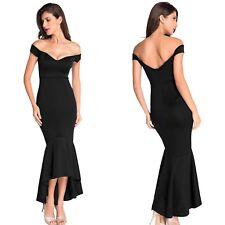 Abito lungo aperto Scollo coda nudo aderente Svasato Maxi Jersey Evening Dress M