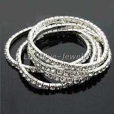 5pcs Sparkling Crystal Rhinestone Stretchy Bracelet Bangle Women Bridal Wedding