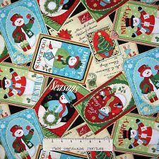 Christmas Fabric - Snowman Wreath Tree Card Toss Black - Benartex YARD