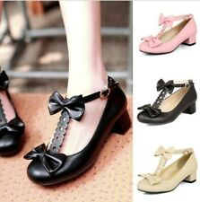 Women's Lolita Ankle Strap Bowknot Round Toe Chunky Heel Mary Janes Shoes 34-50