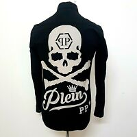 Philipp Plein Mens Shirt Size Small Skull Back Spellout Black Button Up Stretch